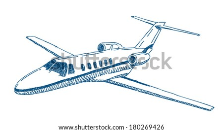 Private jet airplane vector drawing isolated on white background - stock vector