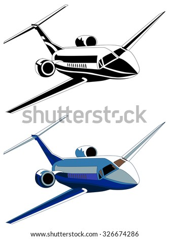 Private jet, vector illustration, isolated on white, color and gray-scale - stock vector