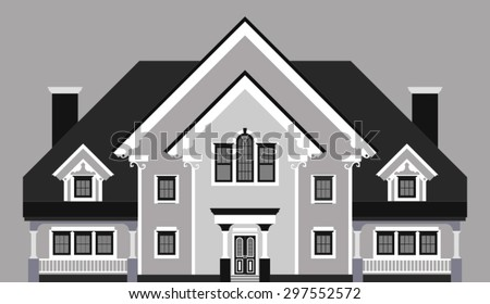 private mansion isolated on gray background - stock vector
