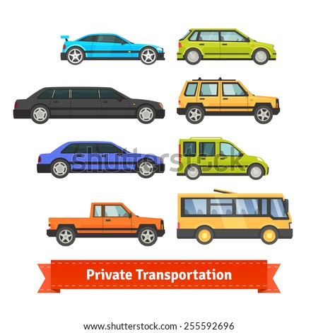 Private transportation. Set of various cars and vehicles. Coupe, limo, sedan, hatchback, SUV, pickup and bus. Flat style illustration or icon. EPS 10 vector. - stock vector