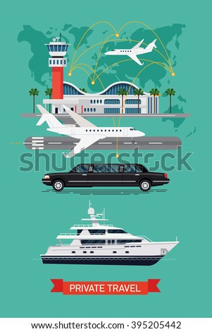 Private travel flat vector, abstract world map background. Executive airport terminal, private jet, limo vehicle and luxury yacht. Luxury flight, private airplane, exclusive service, premium travel - stock vector