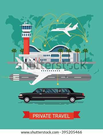 Private travel flat vector with abstract world map background. Executive airport terminal, private jet and limo vehicle. Luxury flight, private airplane, exclusive service, premium travel - stock vector