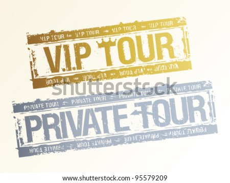 Private VIP tours rubber stamps. - stock vector