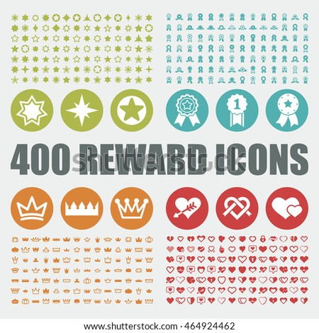 Prize and reward icons. Star vector graphic. Crown web elements. Win art objects. Heart pictogram.