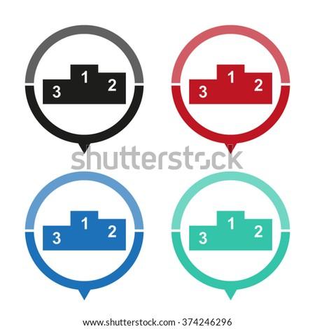Prize podium - vector icon; map pointer;  message bubble - stock vector