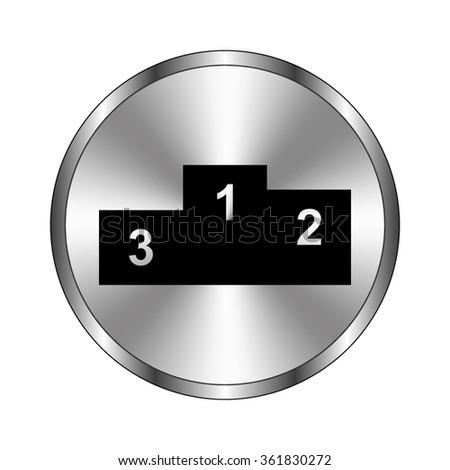 Prize podium - vector icon;  metal button - stock vector