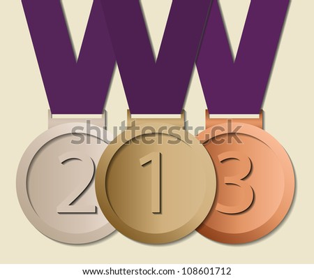 Prizes in ribbon, symbol for winning and success, eps10 vector