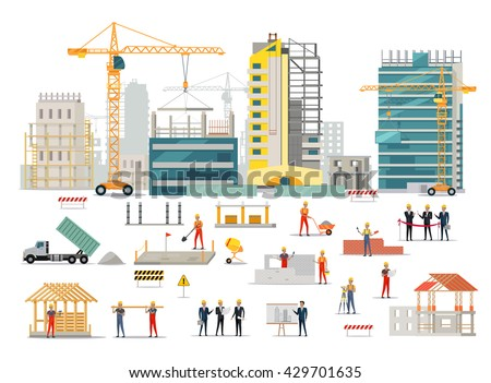 Process construction residential houses isolated big stock for Process of building a new house