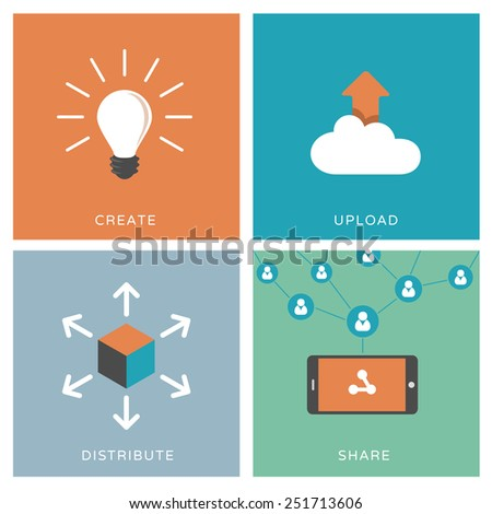 Process of content distribution, social network and viral marketing concept - Set of modern flat design illustrations / icons - stock vector