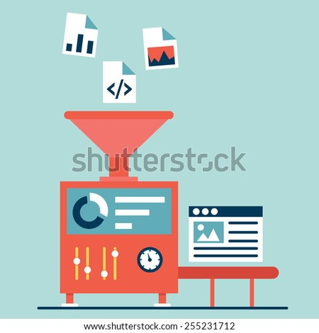 Process of creating site. Process coding and programming. Design and programming - vector illustration - stock vector
