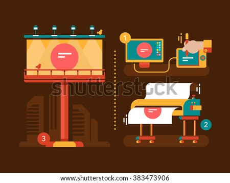 Process of creation outdoor advertising - stock vector