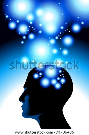 process of human thinking. Meditation human. Concept of human sleep, head and a flash of light .File is saved in AI10 EPS version. This illustration contains a transparency - stock vector