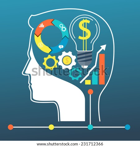 Process of human thinking. Silhouette of head, and brain. The concept of intelligence - stock vector