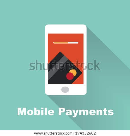 processing of mobile payments - stock vector