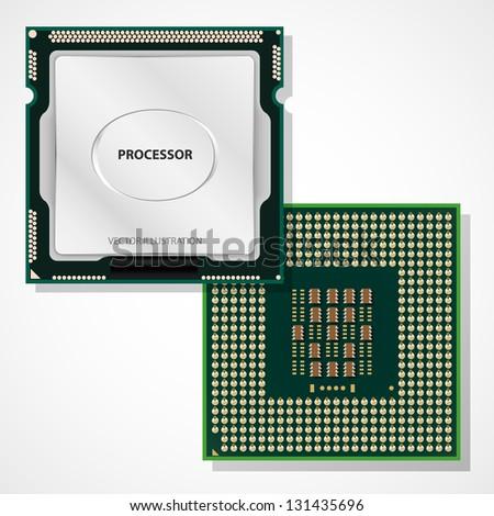 Processor. Computer hardware. Vector illustration. - stock vector