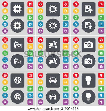 Processor, Gear, Floppy, SMS, Scooter, Camera, Web cursor, Car, Light bulb icon symbol. A large set of flat, colored buttons for your design. Vector illustration - stock vector