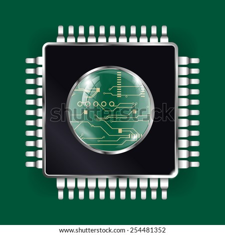 Processor - vector drawing isolated on green background - stock vector