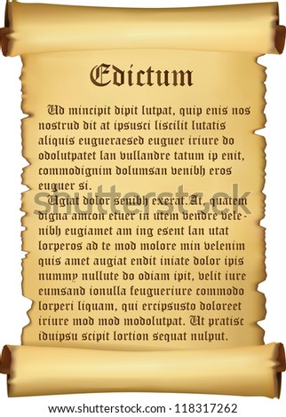 Proclamation on parchment