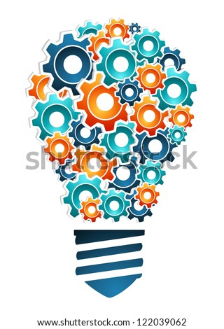 Product design innovation concept: bulb light shaped with multicolored machine gear icons. Vector illustration layered for easy manipulation and custom coloring. - stock vector