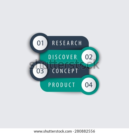 Product development, info graphic elements, timeline, step labels, 1 2 3 4, in teal and blue, vector illustration, eps10, easy to edit - stock vector