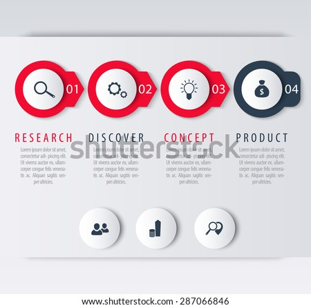 Product development, infographic elements, step labels, icons, vector illustration, eps10, easy to edit - stock vector