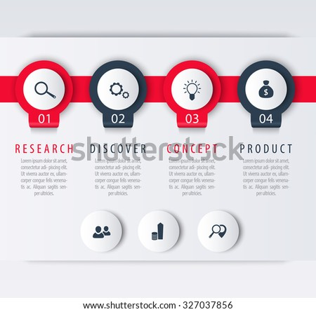Product development, infographic elements, 1, 2, 3, 4, steps, labels, vector illustration - stock vector