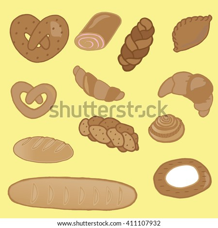 Product range: bread - rye bread, cottage cheese, wheat bread, whole wheat bread, sliced bread, French baguette, croissant. Vector illustration, isolated on yellow. - stock vector