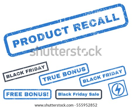 Product Recall rubber seal stamp watermark with bonus images for Black Friday offers. Vector smooth blue stickers. Tag inside rectangular banner with grunge design and dust texture.
