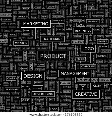 PRODUCT. Seamless pattern. Word cloud illustration. Vector illustration.  - stock vector