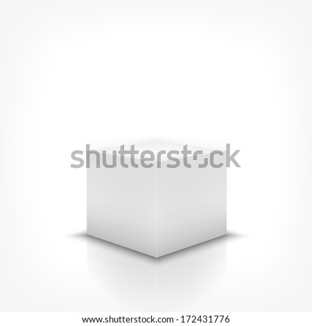 Product stand 3d box on white background with reflection - stock vector