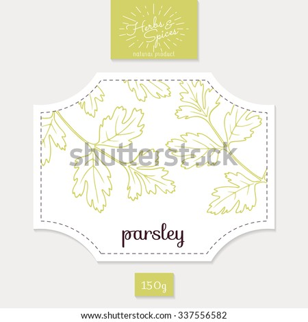 Product sticker with hand drawn parsley leaves. Spicy herbs packaging design. Food label template. Vector illustration - stock vector