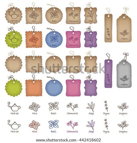 Product tags in various shapes and color, herb and tea