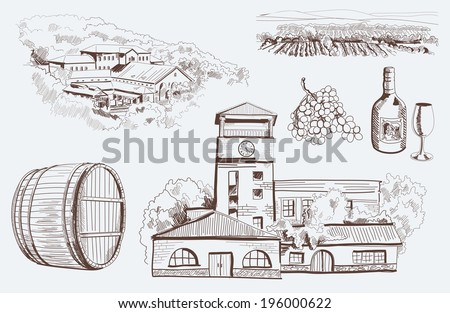 production and tasting homemade wine. set of vector sketches - stock vector