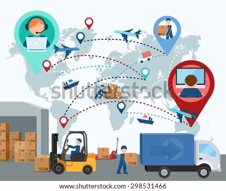 Production, transportation, delivery of cargo. People. Infographics. Forklift. Map. Vector illustration - stock vector