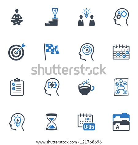 Productive at Work Icons - Blue Series - stock vector