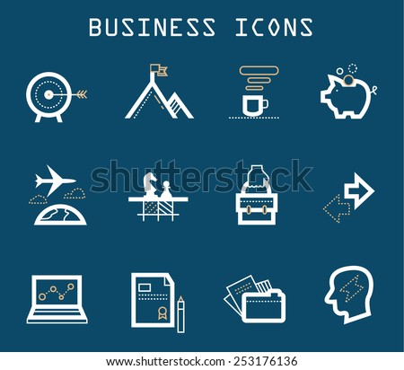Productive at Work Icons goal of business - stock vector