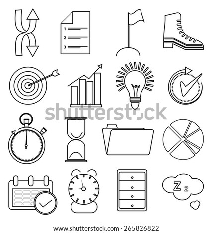 Productivity line icons set  - stock vector