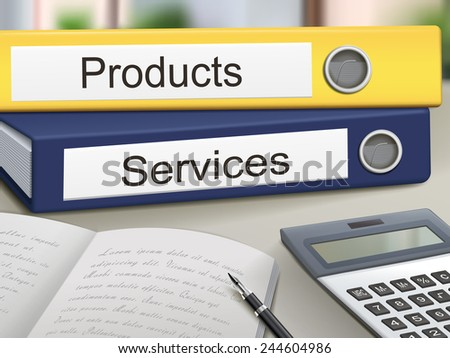 products and services binders isolated on the office table - stock vector