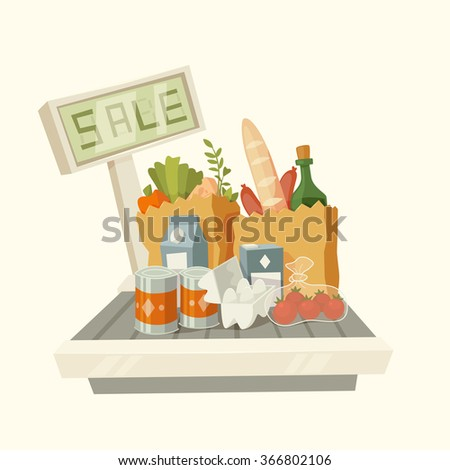 Products with text Sale. Vector illustration.