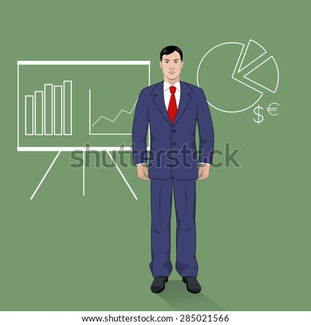 Profession. Businessman. Vector illustration in a flat style with diagram and graph on the background.