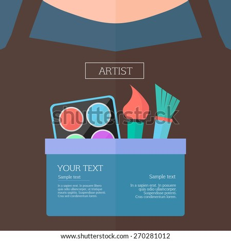 Profession concept. Closeup of person breast clothes with brushes and paint - stock vector