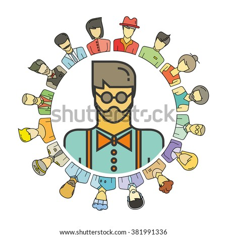 profession concept, people community, people social community - stock vector