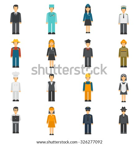 Profession flat avatars set with full length cook detective doctor portraits isolated vector illustration - stock vector
