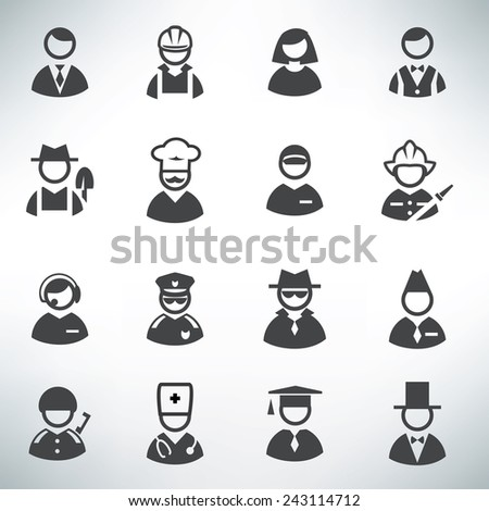 profession icons vector set - stock vector