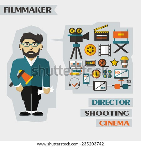 Profession of people. Flat infographic. Filmmaker. - stock vector
