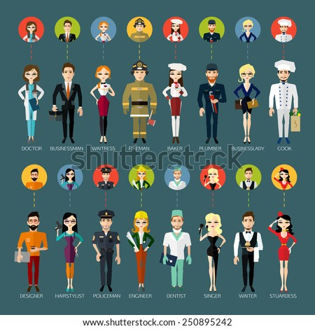 Profession people and avatars collection. Cartoon different characters and different clothes. Flat style design. Vector illustration. - stock vector