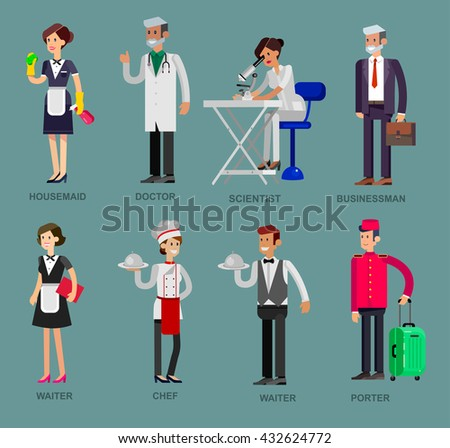 Profession people. Detailed character professionals . Illustration Vector flat  - stock vector