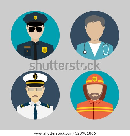 Profession people. flat avatars. sailor, policeman, fireman, doctor. for web and mobile app. vector illustrations - stock vector