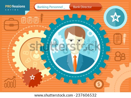 Profession series concept for banking personnel with elegant male bank director in suit and necktie in circle frame on orange with business pictograms - stock vector
