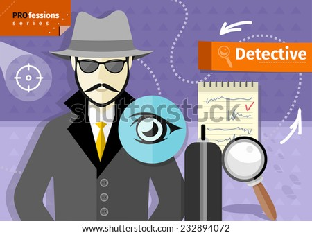 Profession series with young mustached male detective in hat, coat  and sunglasses  tracking down criminals - stock vector